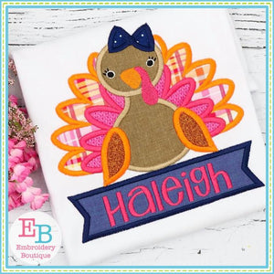 Turkey Banner Girl Applique, Applique