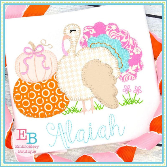 Turkey Pumpkins Blanket Stitch Applique, Applique