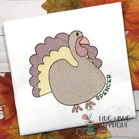 Turkey Filled Sketch Embroidery Design, Embroidery