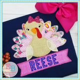 Turkey Banner Girl Zigzag Applique, Applique