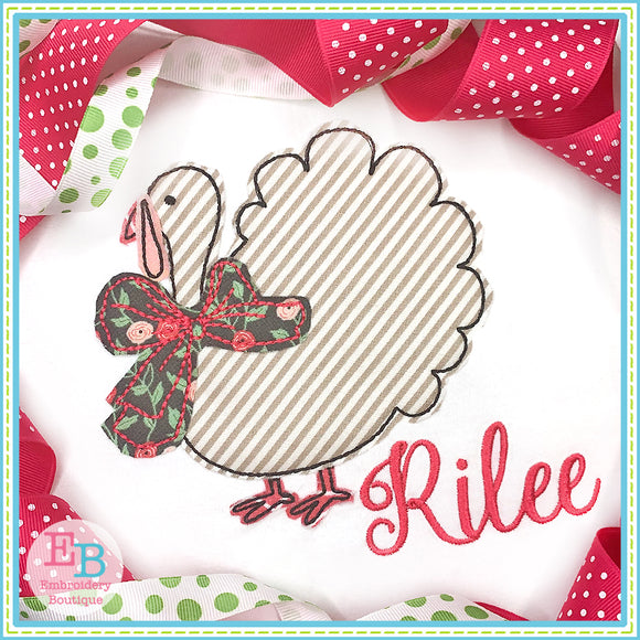 Turkey Big Bow Bean Stitch Applique, Applique