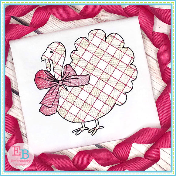 Turkey Big Bow Plaid Sketch Embroidery Design, Embroidery