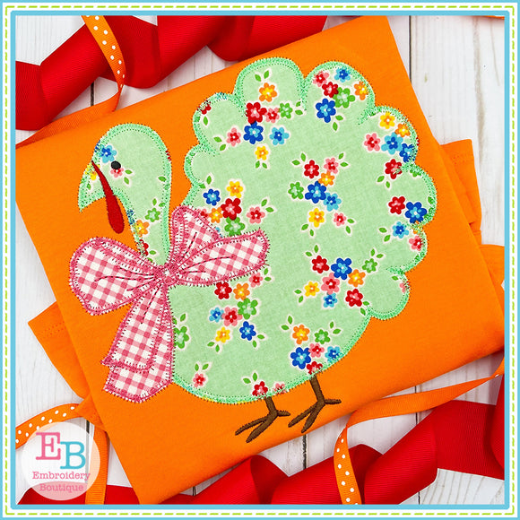 Turkey Big Bow Zigzag Applique, Applique