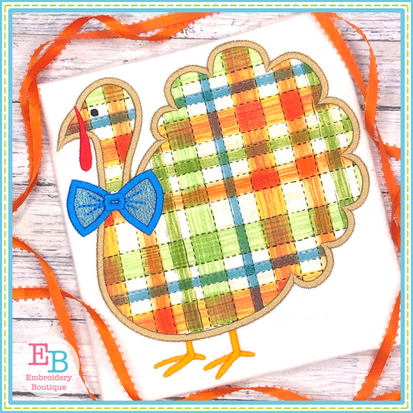 Turkey Bowtie Satin Applique, Applique