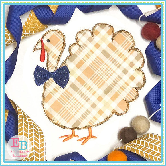 Turkey Bowtie Zigzag Applique, Applique