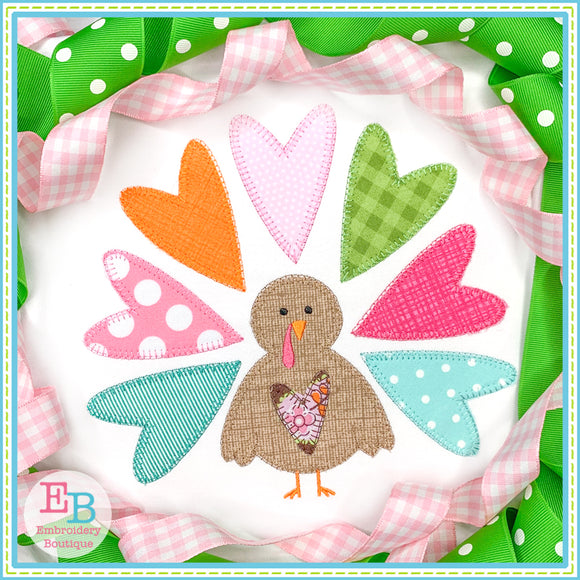 Turkey Heart Blanket Stitch Applique, Applique
