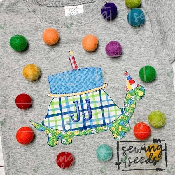 Sensational Turtle Birthday Cake Add On Candles Applique Ss Embroidery Funny Birthday Cards Online Alyptdamsfinfo