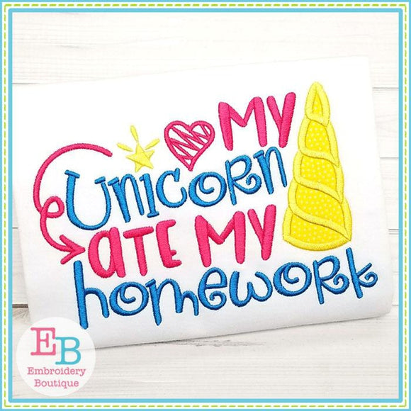 Unicorn Ate Applique - embroidery-boutique