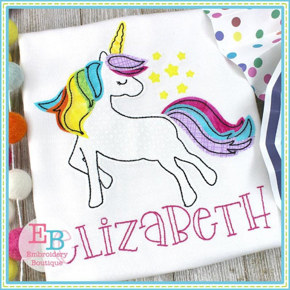 Whimsical Unicorn Applique, Applique
