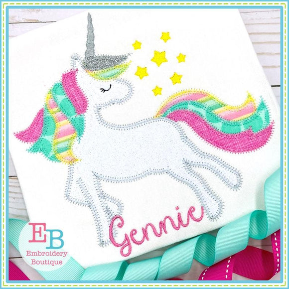 Whimsical Unicorn Zigzag Applique, Applique