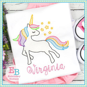 Whimsical Unicorn Sketch Design, Embroidery