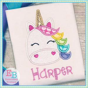 Unicorn Face Applique - embroidery-boutique