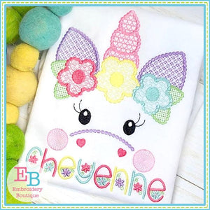 Unicorn Face Motif with Flowers Design, Embroidery
