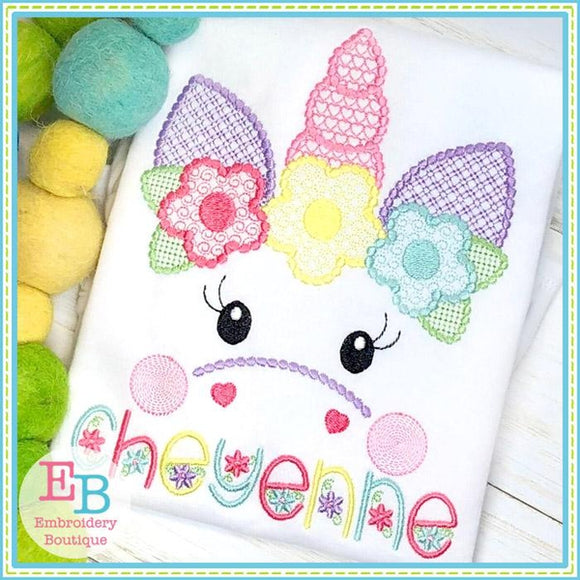 Unicorn Face Motif with Flowers Design