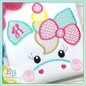 Unicorn Face Motif with Heart Bow Design, Embroidery