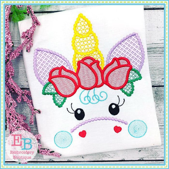 Unicorn Face Motif with Roses Design, Embroidery