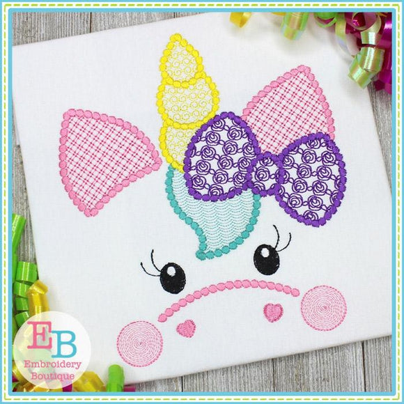 Unicorn Face Motif with Rose Bow Design, Embroidery