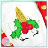 Holly Unicorn Applique - embroidery-boutique