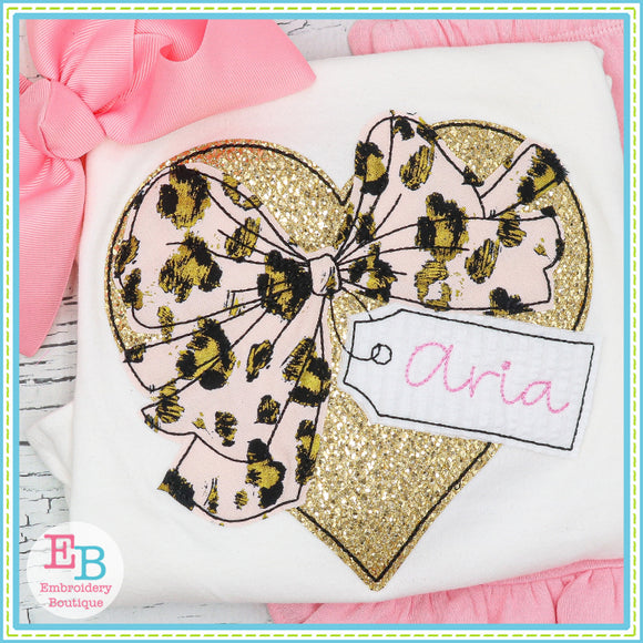 Valentine Heart Bow Tag Bean Stitch Applique, Applique