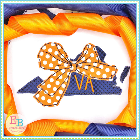 Big Bow Virginia Bean Stitch Applique, Applique