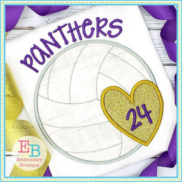 Volleyball Heart Satin Applique