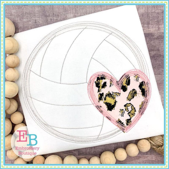 Volleyball Heart Scribble Applique
