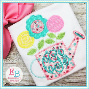 Watering Can ZigZag Applique - Embroidery Boutique