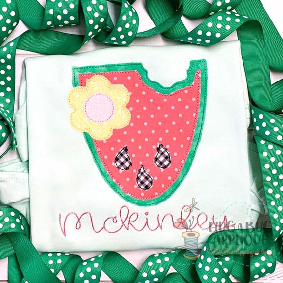 Watermelon Flower Bean Stitch Applique Design, Digital Download