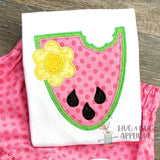 Watermelon Flower Zig Zag Stitch Applique Design, Digital Download