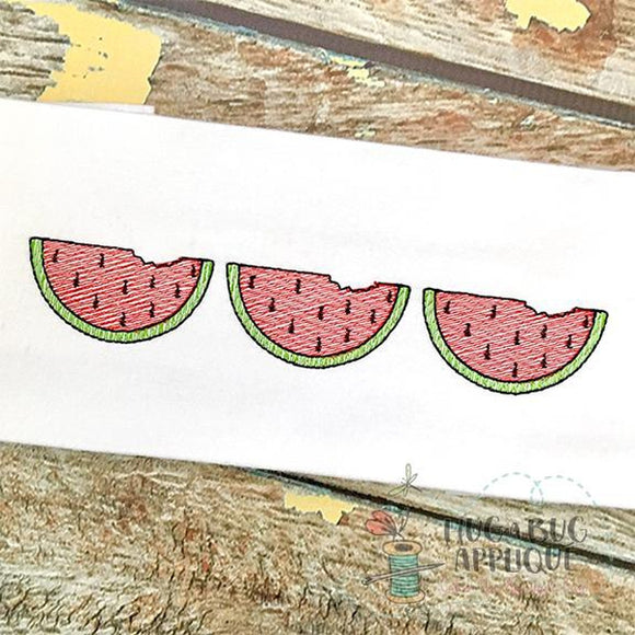 Watermelon Trio Sketch Stitch Embroidery Design, Embroidery