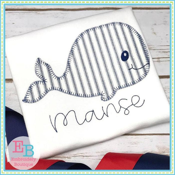 Whale 2 Blanket Stitch Applique
