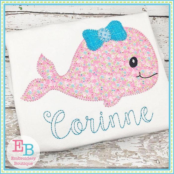 Whale Bow Blanket Stitch Applique - Embroidery Boutique