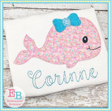 Whale Bow Blanket Stitch Applique, Applique