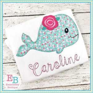 Whale Rose Blanket Stitch Applique - Embroidery Boutique