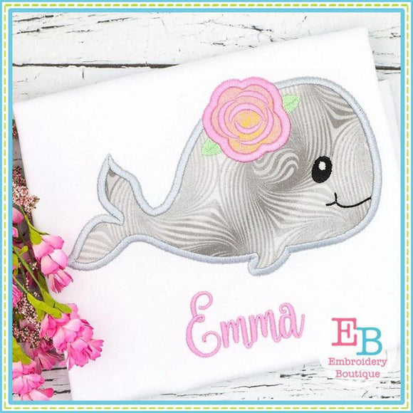 Whale Rose Applique - embroidery-boutique