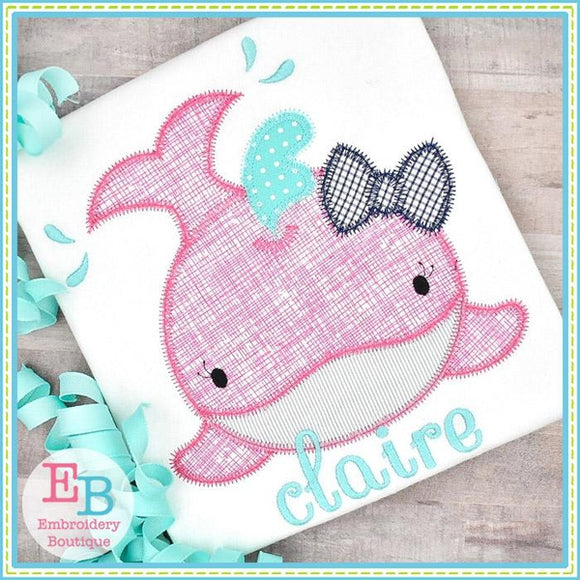 Whale Smile Girl Zigzag Applique