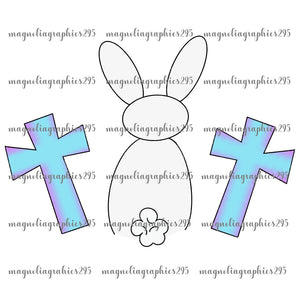 White Bunny with Crosses Printable Design PNG