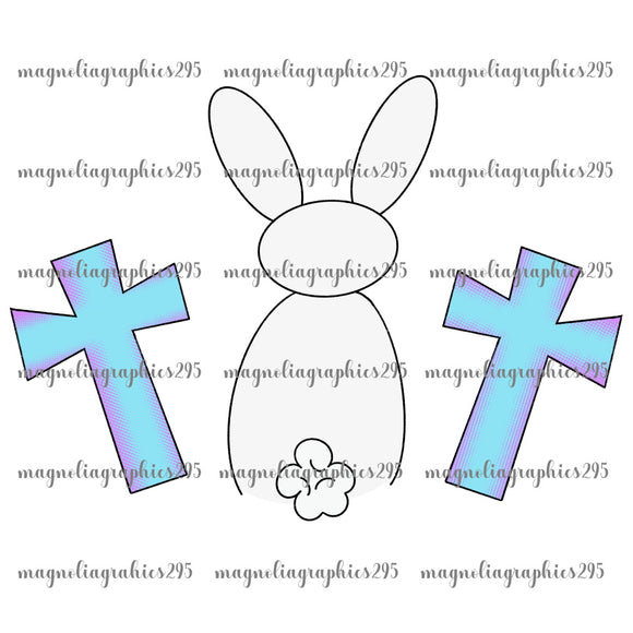 White Bunny with Crosses Printable Design PNG-Embroidery Boutique