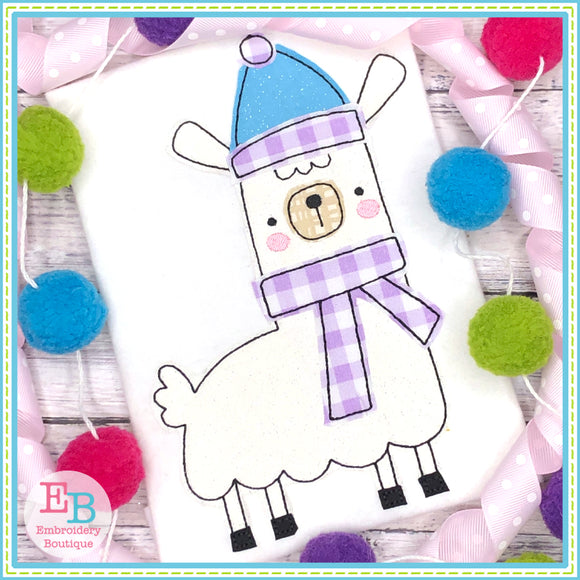 Winter Llama 1 Bean Stitch Applique