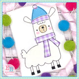 Winter Llama 1 Bean Stitch Applique, Applique