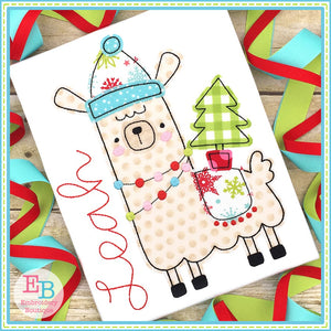 Winter Llama 2 Bean Stitch Applique, Applique