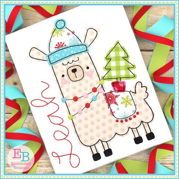 Winter Llama 2 Bean Stitch Applique
