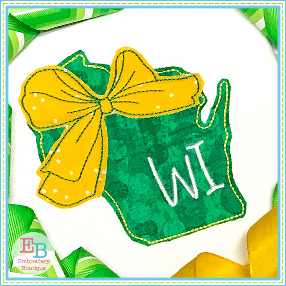 Big Bow Wisconsin Bean Stitch Applique, Applique