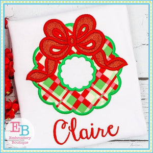 Wreath Bow Applique - embroidery-boutique
