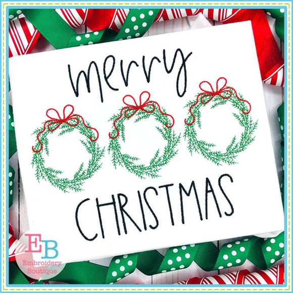 Merry Christmas Wreath Trio Design, Embroidery