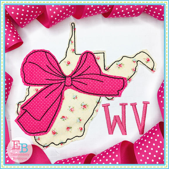 Big Bow West Virginia Bean Stitch Applique, Applique