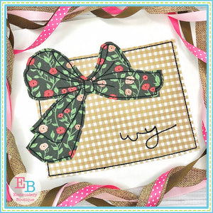 Big Bow Wyoming Bean Stitch Applique, Applique