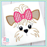 Yorkie Face Motif with Roses Bow Design
