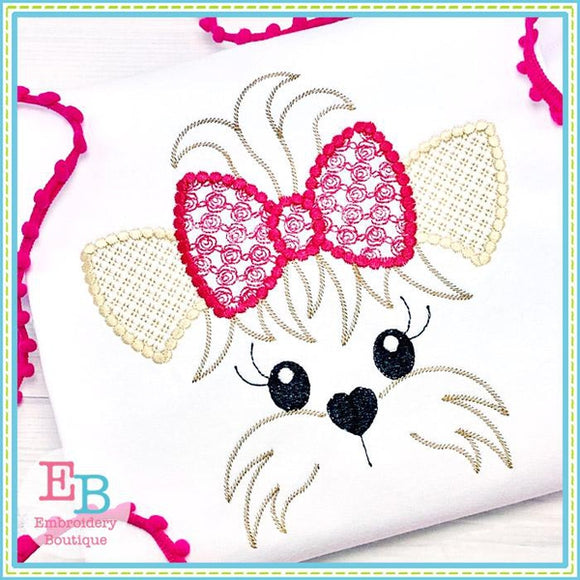 Yorkie Face Motif with Roses Bow Design, Embroidery