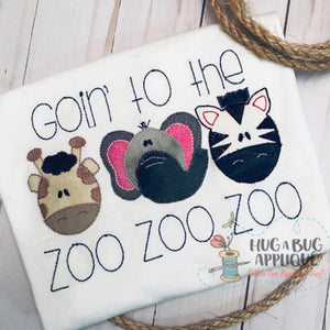 Zoo Trio Bean Stitch Applique
